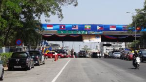 arriving at the Thai part of the border