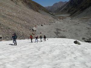 roped in, onto the glacier