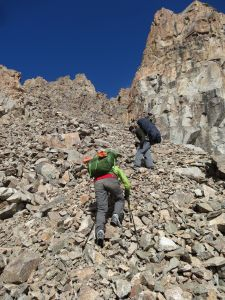 on all 4's up the scree slope