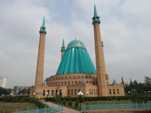 this mosque has many nicknames due to its looks (darth father and shuttle cock)