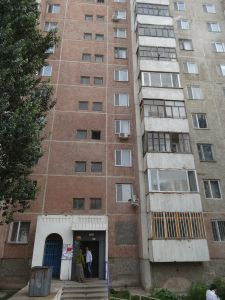 Baurzhan's parents live inside this apartment block