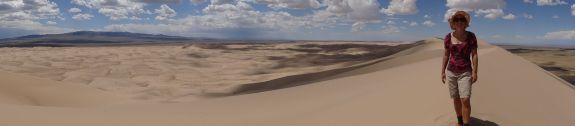 Jude on top of the tallest sand dunes in the Gobi Desert