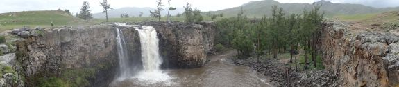 waterfall in the Orkhon Valley, look closely to spot Jude