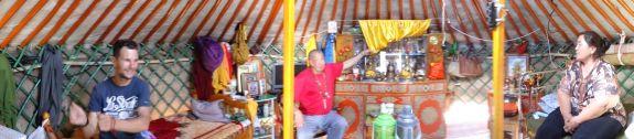 Buddhist monk inside his family ger