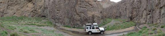 Lara in Dugany Am, a narrow canyon in the Gobi Desert