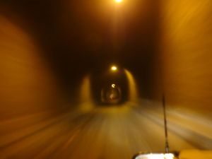 at first we wondered if it was a one-way tunnel with potholes, but then realised it was just wide enough for 2 cars...