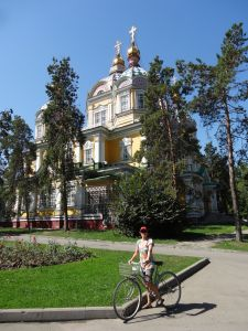 cycling through Almaty - the colourful Almaty cathedral