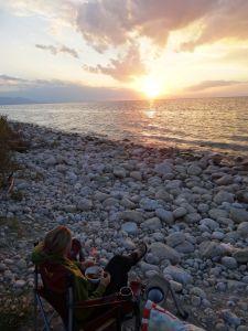 sunset over Lake Issy Kul whilst enjoying our dinner
