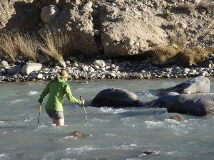 wading across the Pamir river