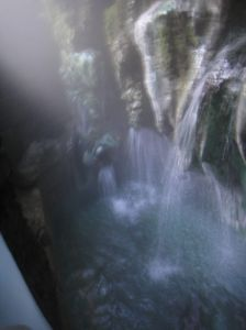 natural hot springs, hot water pouring straight from the stalactites