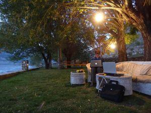 relaxing in the gardens of Serena Inn