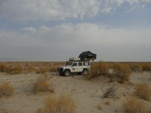 camping on the Aral Sea bed, this should not be possible