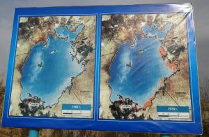 in 1960 the Aral Sea was still completely full, you can already see the start of the disappearance by 1970