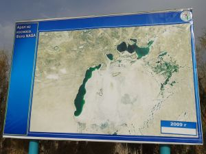 this was 2009, Kazakhstan is actively trying to re-establish the North Aral Sea again. The South Aral Sea seems lost forever
