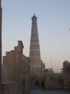 the Islom-Hoja minaret in Khiva, the newbies in town dating only from 1910
