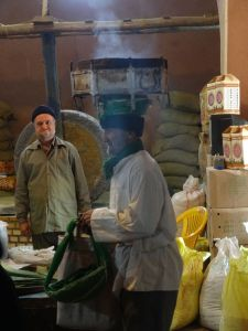 spice shop is blessed, check out the grinding wheel in the background - still in use every day