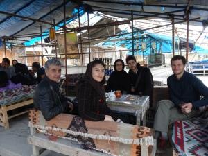 having tea in Masouleh, the qalyan (waterpipe) was on its way