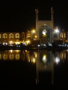 reflections in the pool on Imam Square in Esfehan