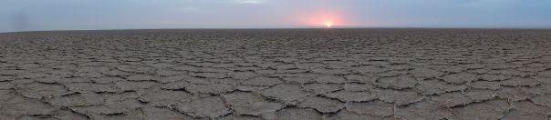 Namak salt lake - sunrise over Namak salt lake