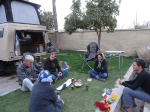 getting together with fellow overlanders in Shiraz