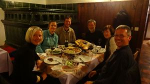A memorable traditional dinner with Lojze, Petra, Milos and Majda - we had not seen the boys since Kazakhstan!
