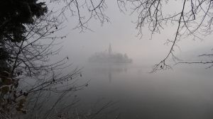 Lake Bled in the morning mist.  Not many tours running to the Island today