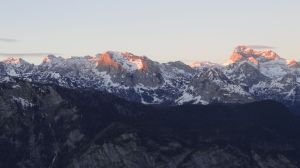 sunset over mount Triglav, Slovenia's highest point in the beautiful Julian Alps.
