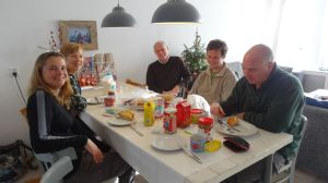 a typical Dutch lunch with Jude's mum and dad, Sandra (her sister) and Peter (brother in law)