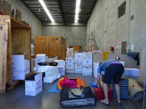 finalising the piles for sea and air freight after returning from our Cape York trip