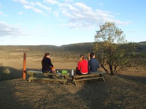 sundowners at the edge of our camp site in Hell's Gate