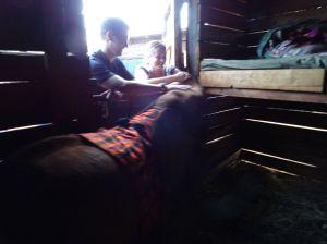 Kamok in her stockade giving us a hug (stable)