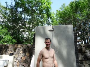 our outdoor shower, and yes, that is an outdoor toilet in the left corner!