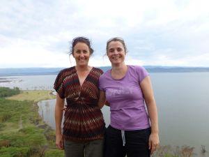 Kat and Jude on the monkey cliffs overlooking Lake Nakuru