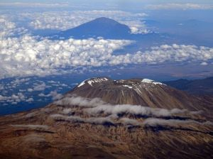 Mt Kilimanjaro in the foreground, Mt Meru in the background - stunning views from our flight over to Dar