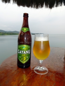 a well-deserved beer at Lake Kivu